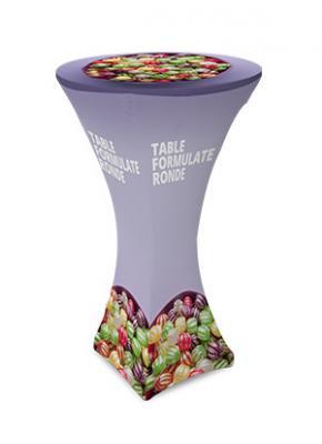Textilný stolík, okrúhly